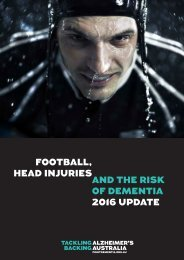FOOTBALL HEAD INJURIES AND THE RISK OF DEMENTIA 2016 UPDATE