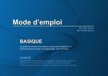 Samsung ML-2168 (ML-2168/SEE ) - Manuel de l'utilisateur 7.96 MB, pdf, Français