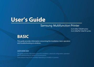 Samsung CLX-3300 Imprimante multifonction laser couleur 3-en-1 (18/ 4 ppm) (CLX-3300/SEE ) - Manuel de l'utilisateur 55.27 MB, pdf, Anglais