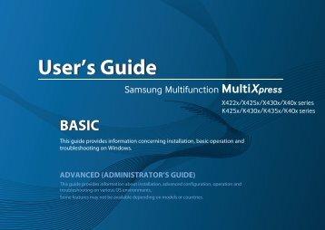 Samsung SL-X4220RX Multifonction A3 Couleur 20 ppm (SL-X4220RX/SEE ) - Manuel de l'utilisateur 39.33 MB, pdf, Anglais
