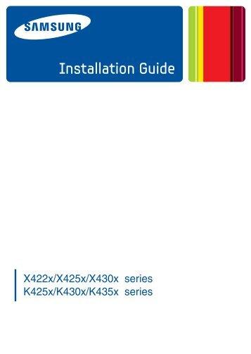 Samsung SL-K4300LX Multifonction A3 Monochrome 30 ppm (SL-K4300LX/SEE ) - Installation Guide 9.94 MB, pdf, Anglais