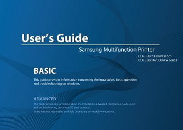 Samsung CLX-3305 Imprimante multifonction laser couleur 3-en-1 (18/ 4 ppm) (CLX-3305/SEE ) - Manuel de l'utilisateur 55.27 MB, pdf, Anglais