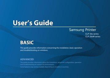 Samsung Imprimantes Laser Couleur CLP-365W (CLP-365W/SEE ) - Manuel de l'utilisateur 35.48 MB, pdf, Anglais