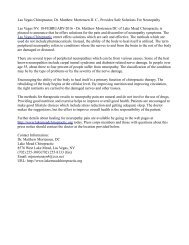 Las Vegas Chiropractor, Dr. Matthew Mortensen D. C., Provides Safe Solutions For Neuropathy