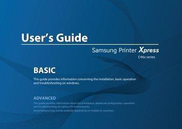 Samsung SL-C460W Imprimante multifonction laser couleur 3-en-1 (4/ 18 ppm) (SL-C460W/SEE ) - Manuel de l'utilisateur 57.12 MB, pdf, Anglais