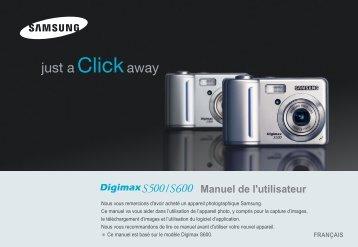 Samsung DIGIMAX S500 (EC-S500ZBBA/FR ) - Manuel de l'utilisateur 7.42 MB, pdf, Français
