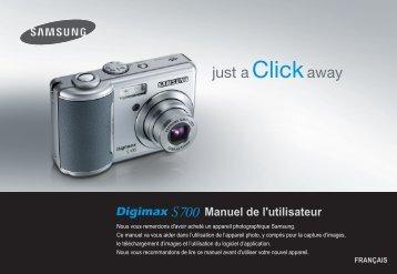 Samsung DIGIMAX S700 (EC-S700ZBBA/FR ) - Manuel de l'utilisateur 8.07 MB, pdf, Français