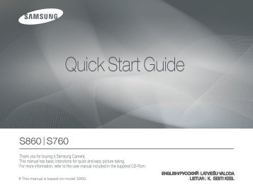 Samsung S760 (EC-S760B01KFR ) - Guide rapide 10.75 MB, pdf, Anglais, Estonien, Llettonie, Lituanien, RUSSIE