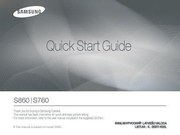Samsung S860 (EC-S860B01KFR ) - Guide rapide 10.75 MB, pdf, Anglais, Estonien, Llettonie, Lituanien, RUSSIE