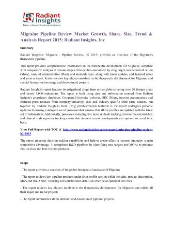 Migraine Pipeline Review Market Growth, Share, Size, Trend & Analysis Report 2015 Radiant Insights, Inc