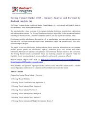 Sewing Thread Market 2015 - Industry Analysis and Forecast by Radiant Insights, Inc