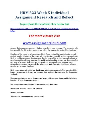 UOP HRM 323 Week 5 Individual Assignment Research and Reflect
