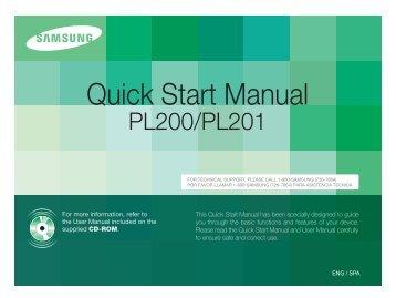 Samsung PL200 (EC-PL200ZBPRE1 ) - Guide rapide 2.45 MB, pdf, Anglais, Espagnol