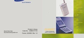 Samsung SGH-A100SA (SGH-A100SA/FTM ) - Manuel de l'utilisateur 0.53 MB, pdf, Français