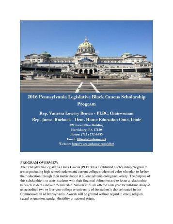 2016 Pennsylvania Legislative Black Caucus Scholarship Program