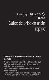 Samsung Samsung Galaxy S noir - Open market (GT-I9000HKAXEF ) - Guide rapide 0.29 MB, pdf, FRANÇAIS (Orange)