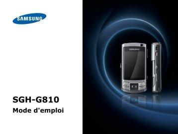 Samsung SGH-G810 (SGH-G810EAASFR ) - Manuel de l'utilisateur 3.17 MB, pdf, Français