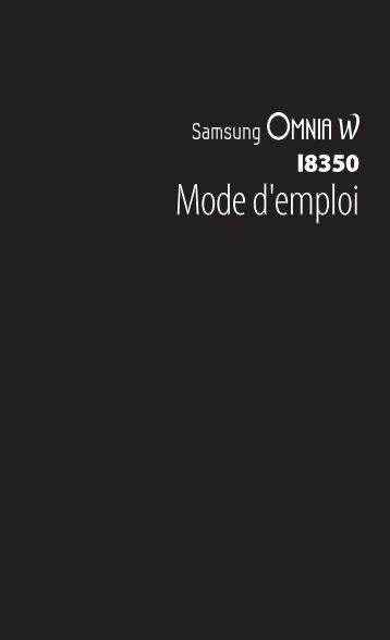Samsung Samsung Omnia W noir - Open market (GT-I8350HKAXEF ) - Manuel de l'utilisateur 1.92 MB, pdf, FRANÇAIS (Orange)