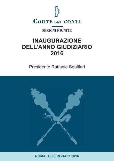INAUGURAZIONE DELL'ANNO GIUDIZIARIO 2016