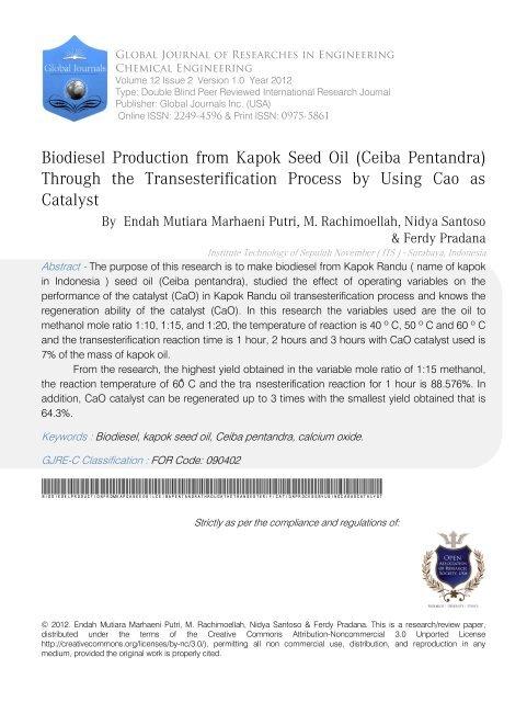 Biodiesel Production from Kapok Seed Oil (Ceiba Pentandra