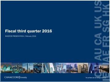 Fiscal third quarter 2016
