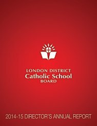 Catholic School 2014-15 DIRECTOR'S ANNUAL REPORT