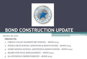 BOND CONSTRUCTION UPDATE