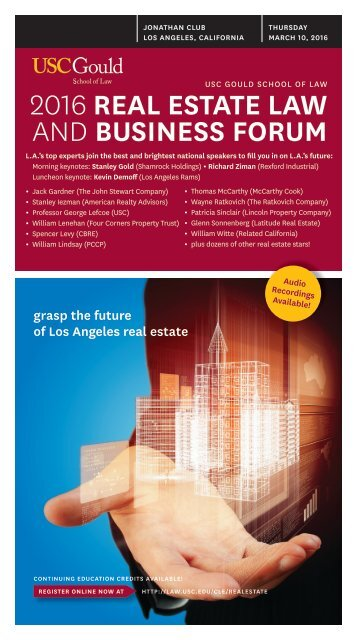 2016 REAL ESTATE LAW AND BUSINESS FORUM