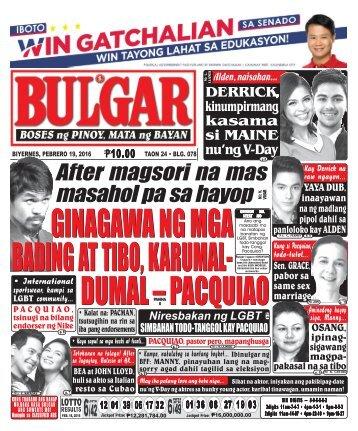 February 19, 2016 BULGAR: BOSES NG PINOY, MATA NG BAYAN