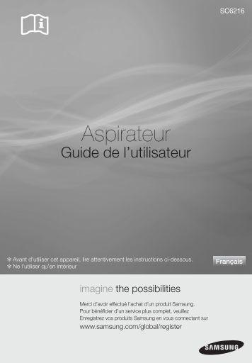 Samsung Aspirateur avec sac SC6216 silencieux, 1600 W (VCC6216V31/XEF ) - Manuel de l'utilisateur 6.68 MB, pdf, Français