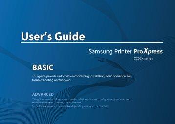 Samsung SL-C2620DW Imprimante Laser Couleur (26 ppm) (SL-C2620DW/SEE ) - Manuel de l'utilisateur 39.93 MB, pdf, Anglais