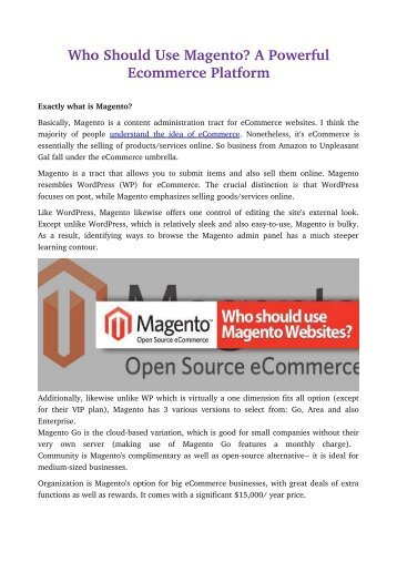 Who Should Use Magento? A Powerful Ecommerce Platform