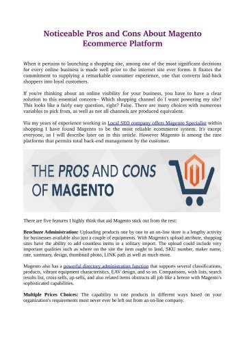 Noticeable Pros and Cons About Magento Ecommerce Platform