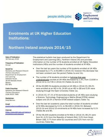 Enrolments at UK Higher Education Institutions Northern Ireland analysis 2014/15