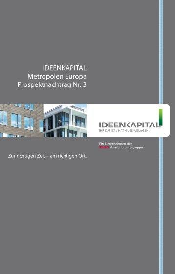 IDEENKAPITAL Metropolen Europa Prospektnachtrag Nr. 3