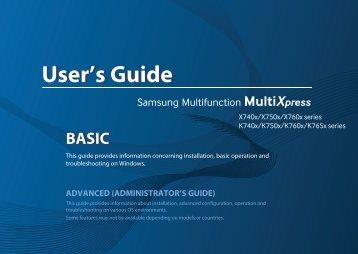 Samsung SL-X7500LX Multifonction A3 Couleur 50 ppm (SL-X7500LX/SEE ) - Manuel de l'utilisateur 36.16 MB, pdf, Anglais