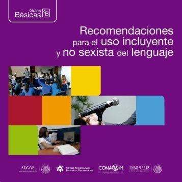Recomendaciones uso incluyente y no sexista lenguaje