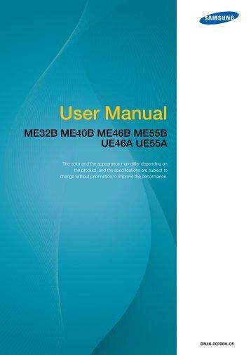 Samsung 40'' Moniteur LED ME40B usage standard (LH40MEBPLGC/EN ) - Manuel de l'utilisateur 11.64 MB, pdf, Anglais