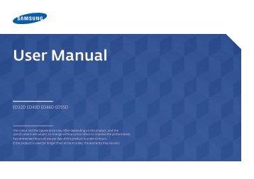 """Samsung Moniteur LED 46"""" - 350 cd/m² - Full HD - ED46D (LH46EDDPLGC/EN ) - Manuel de l'utilisateur 1.95 MB, pdf, Anglais"""