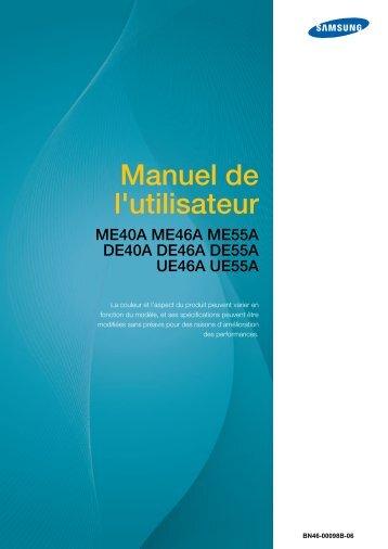Samsung Mur d'images 55'' - FHD UE55A (LH55UEAPLGC/EN ) - Manuel de l'utilisateur 6.16 MB, pdf, Français