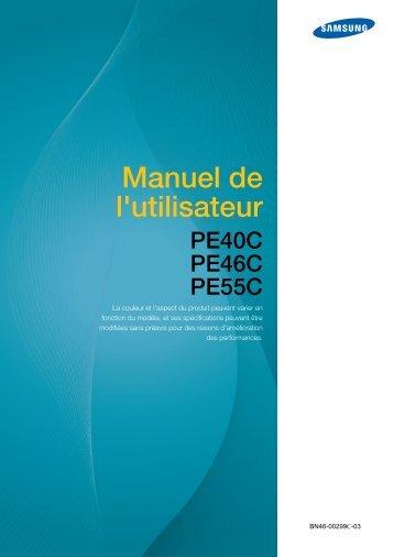 Samsung Moniteur premium 55'' PE55C usage intensif (LH55PECPLBC/EN ) - Manuel de l'utilisateur 14.82 MB, pdf, Français