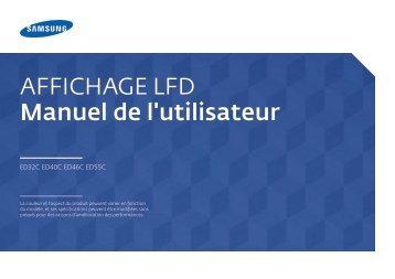 Samsung Moniteur 46'' ED46C (LH46EDCPLBC/EN ) - Manuel de l'utilisateur 3.55 MB, pdf, Français
