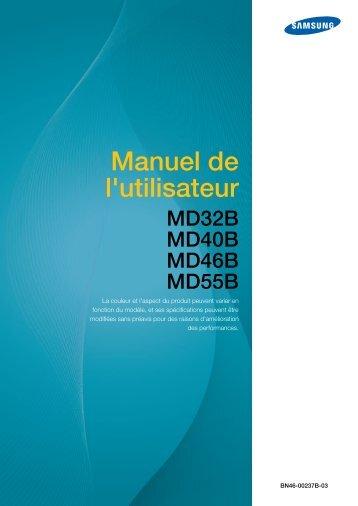 Samsung 46'' Moniteur LED MD46B usage standard (LH46MDBPLGC/EN ) - Manuel de l'utilisateur 12.63 MB, pdf, Français