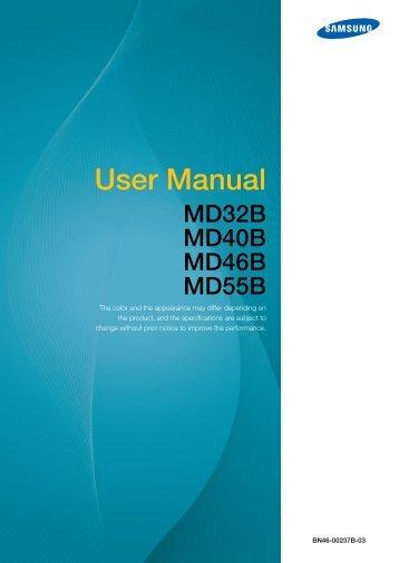 Samsung 46'' Moniteur LED MD46B usage standard (LH46MDBPLGC/EN ) - Manuel de l'utilisateur 12.59 MB, pdf, Anglais