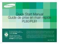 Samsung PL80 (EC-PL80ZZBPBE1 ) - Guide rapide 5.49 MB, pdf, Anglais, Français, Espagnol