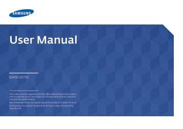 """Samsung Moniteur LED 65"""" - 400 cd/m² - Full HD - ED65D (LH65EDDPLGC/EN ) - Manuel de l'utilisateur 1.95 MB, pdf, Anglais"""