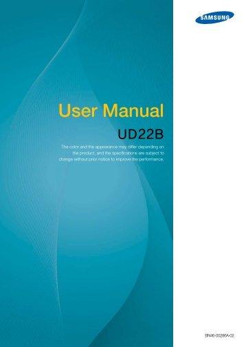 Samsung Mur d'images 22'' - 450 cd/m² - Format 1:1 - UD22B (LH22UDBPLBB/EN ) - Manuel de l'utilisateur 6.48 MB, pdf, Anglais