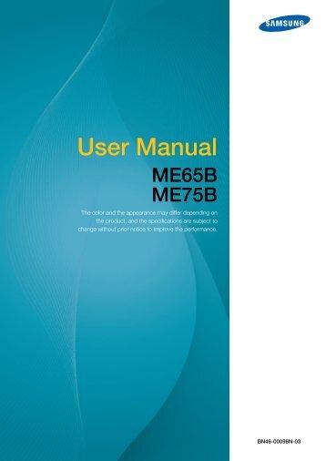 Samsung 75'' Moniteur LED ME75B usage standard (LH75MEBPLGC/EN ) - Manuel de l'utilisateur 11.43 MB, pdf, Anglais
