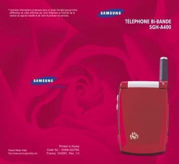 Samsung SGH-A400 (SWGA400BA/BOG ) - Manuel de l'utilisateur 0.74 MB, pdf, Français