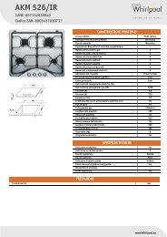 Whirlpool Piano cottura gas da 60 cm, Linea Classic AKM 526/IR - Scheda Tecnica_Italiano